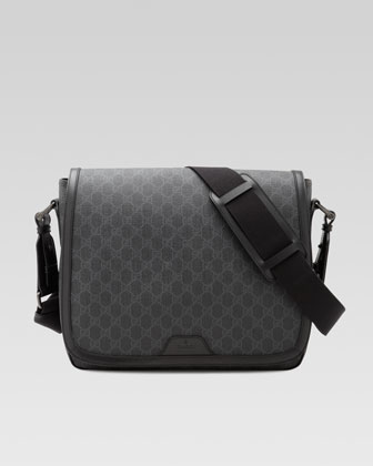 GG Supreme Canvas Messenger Bag, Gray/Black