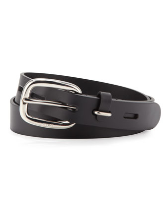 Leather Belt with Square Buckle, Black