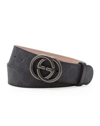 GG Supreme Canvas Belt with Interlocking G Buckle