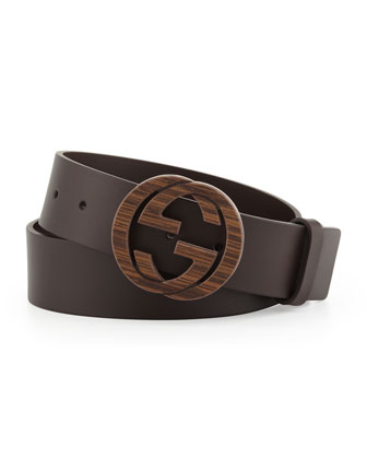 Wood Interlocking G Buckle Leather Belt, Brown