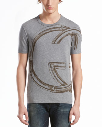 Interlocking-G Print Jersey Tee, Light Gray