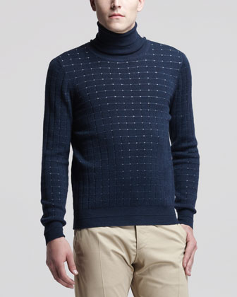 Dot Knit Turtleneck Sweater, Blue