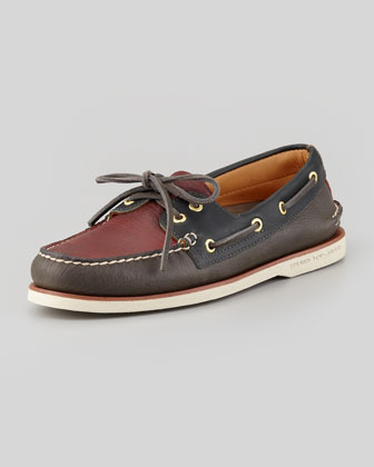 Gold Cup Two-Tone Slip-On Boat Shoe, Gray/Burgundy