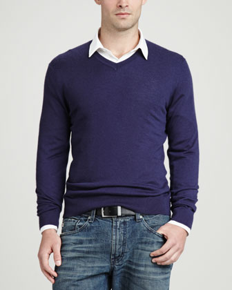 Superfine V-Neck Pullover Sweater, Navy