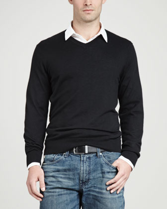 Superfine V-Neck Pullover Sweater, Black
