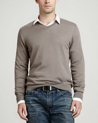Superfine V-Neck Pullover Sweater, Taupe
