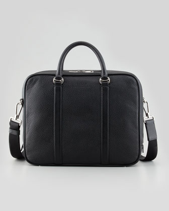 Zip-Around Leather Briefcase with Shoulder Strap