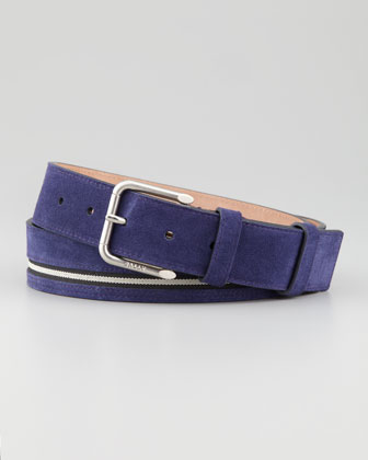 Suede Striped Belt, Blue