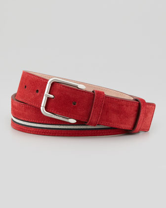 Suede Striped Belt, Red