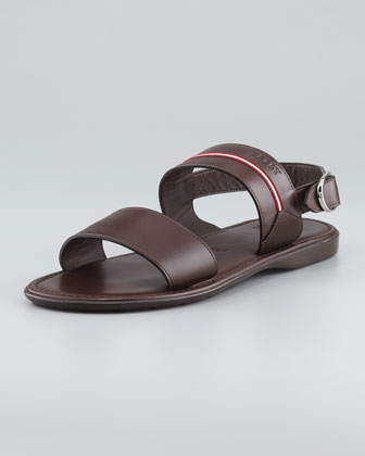 Daiki Leather Fisherman Sandals, Brown
