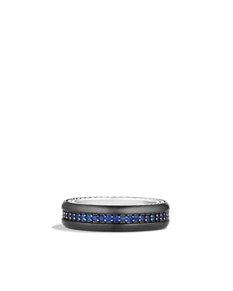 Streamline Narrow Band Ring with Sapphires and Black Titanium