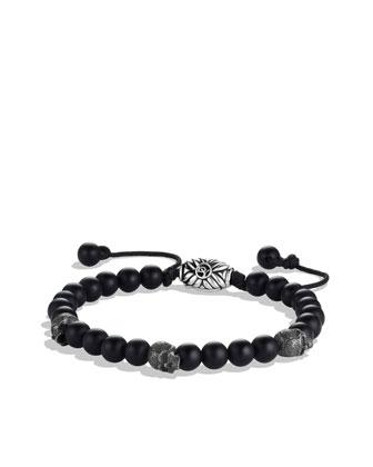 Spiritual Beads Skull Bracelet with Black Onyx