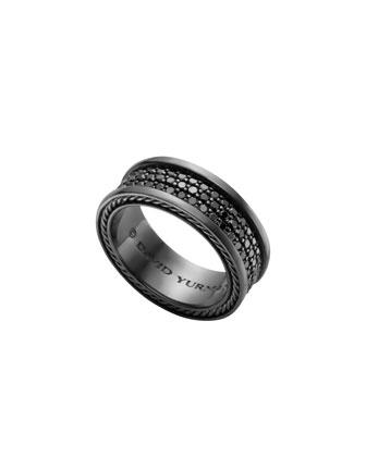 Streamline Three-Row Band Ring with Black Diamonds