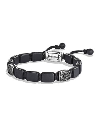 Spiritual Beads Two-Station Tile Bracelet with Black Diamonds