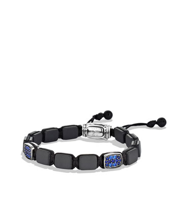Spiritual Beads Tile Bracelet with Sapphires and Black Onyx