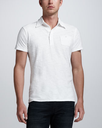 Tev Slub Jersey Polo, White