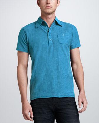 Tev Slub Jersey Polo, Blue