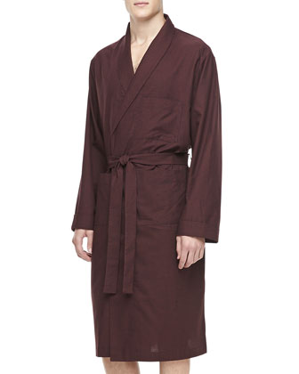 Men's Plaid Cotton Robe, Maroon