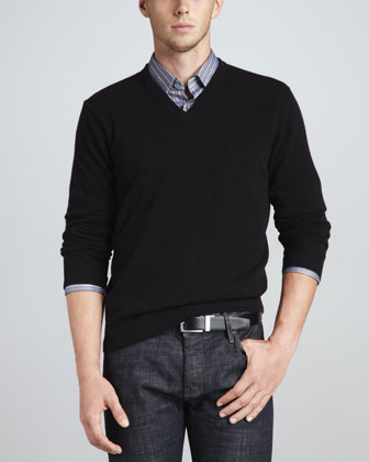 V-Neck Cashmere Pullover Sweater, Black