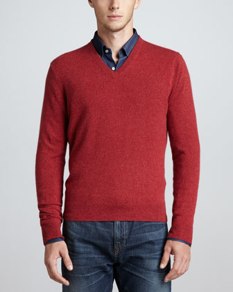 V-Neck Cashmere Pullover Sweater, Red