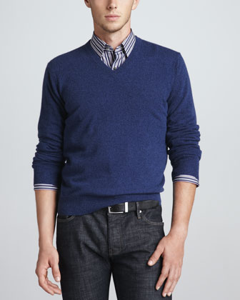 V-Neck Cashmere Pullover Sweater, Navy