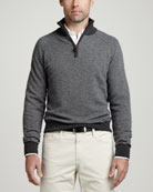 1/4-Zip Herringbone Pullover Sweater, Gray