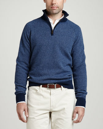1/4-Zip Herringbone Pullover Sweater, Navy
