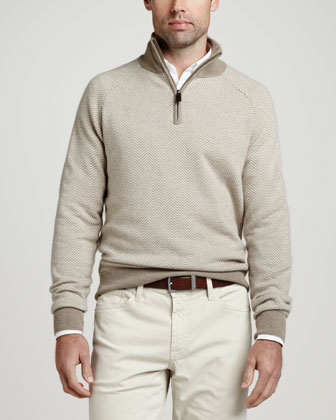 1/4-Zip Herringbone Pullover Sweater, Beige
