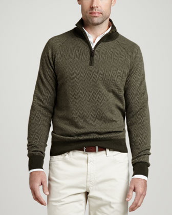 1/4-Zip Herringbone Pullover Sweater, Olive