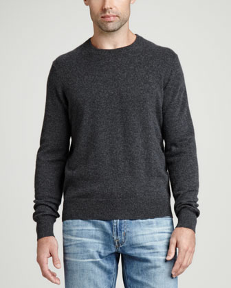 Cashmere Crewneck Elbow-Patch Sweater, Gray