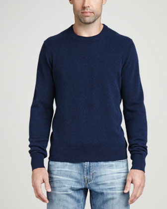 Cashmere Crewneck Elbow-Patch Sweater, Navy