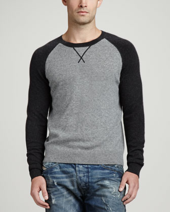 Raglan Crewneck Sweater, Charcoal
