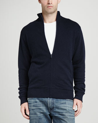 Reversible Cashmere Zip Cardigan, Navy