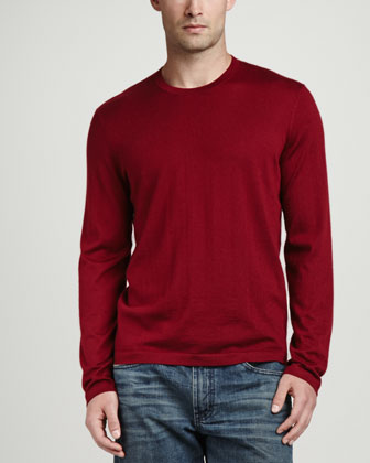 Superfine Cashmere Crewneck Sweater, Burgundy
