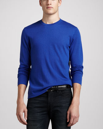 Superfine Cashmere Crewneck Sweater, Blue