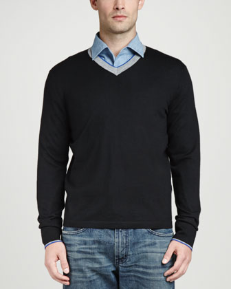 Superfine Tricolor V-Neck Sweater, Black