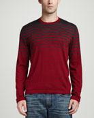 Superfine Cashmere Striped Sweater, Gray Stripe
