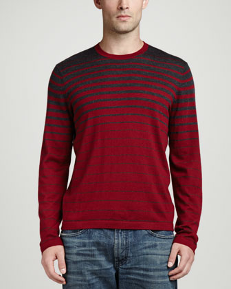 Superfine Cashmere Striped Sweater, Gray Stripe