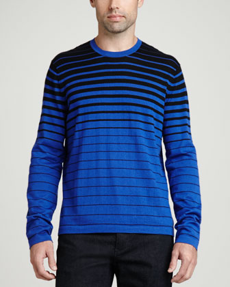 Superfine Cashmere Striped Sweater, Blue Stripe