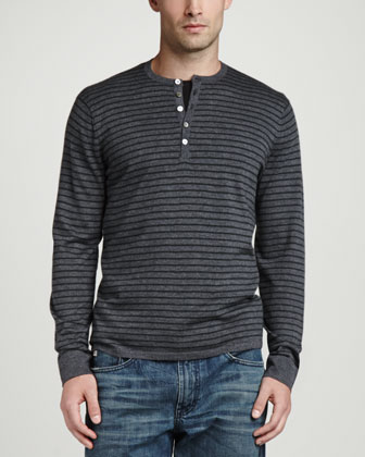 Long-Sleeve Striped Cashmere Henley, Derby Gray/Dark Green