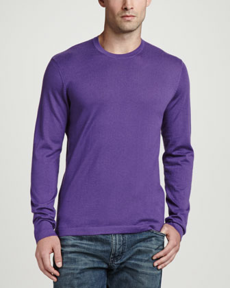 Superfine Cashmere Crewneck Sweater, Purple
