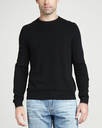 Contrast-Tipped Cashmere Pique Sweater, Black