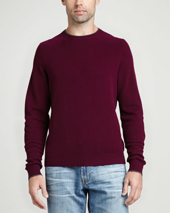 Contrast-Tipped Cashmere Pique Sweater, Burgundy