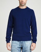 Contrast-Tipped Cashmere Pique Sweater, Navy
