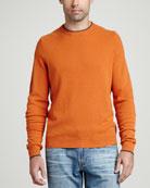 Contrast-Tipped Cashmere Pique Sweater, Orange