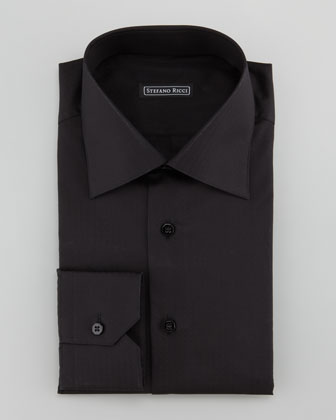 Textured Dot-Stripe Dress Shirt, Black