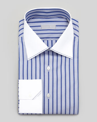 Contrast Collar Dash-Striped Dress Shirt & Micro-Medallion Silk Tie