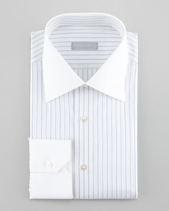 Contrast-Collar Striped Dress Shirt, Black/Blue