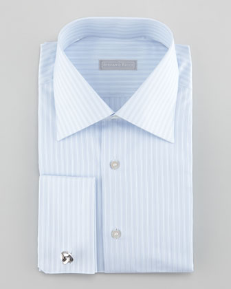 French-Cuff Tonal-Stripe Dress Shirt, Blue