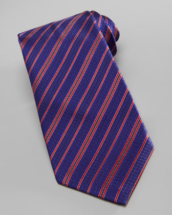 Dot-Stripe Silk Tie, Blue/Red